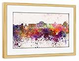artboxONE Poster mit Rahmen Kiefer 75x50 cm Catania Skyline