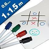 Magnetfolie Whiteboardfolie magnetisch weiß glänzend beschreibbar/abwischbar - 0,6mm x 1m x 1,5m - als Fahrzeugbeschriftungen, zur Kennzeichnung im Haushalt oder Betrieb, für Präsentationen und Projektarbeiten