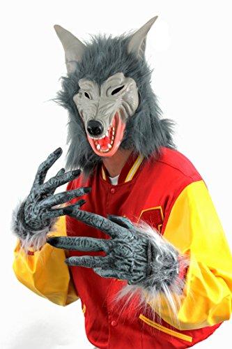 Lupo Set Maschera e Guanti Halloween accessori costume da lupo mannaro maschera Grigio e peloso mani warewolf