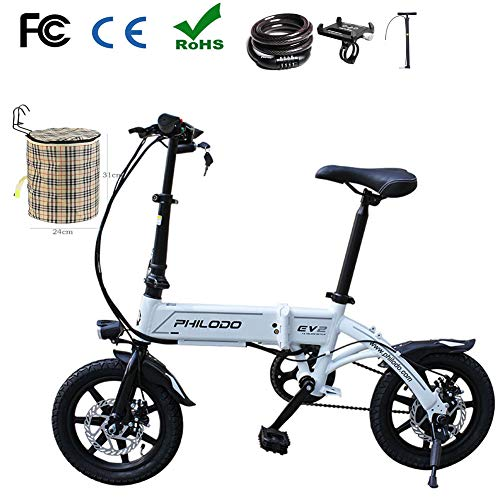 Zhixing Elektrofahrrad Faltbares Mountainbik 14 \'\' Elektrisches Fahrrad Ebike 36V 7Ah Abnehmbar Lithiumbatterie Scheibenbremsen Passwortsperre Korb Fahrradpumpe Handyhalter Werkzeug reparieren,White