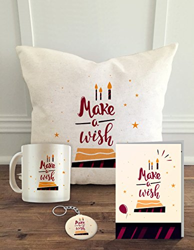 ALDIVO Happy Birthday Combo of Make a Wish Printed Ceramic Coffee Mug, Greeting Card, Key Ring and Cushion Cover with Filler, 12x12inch(White)