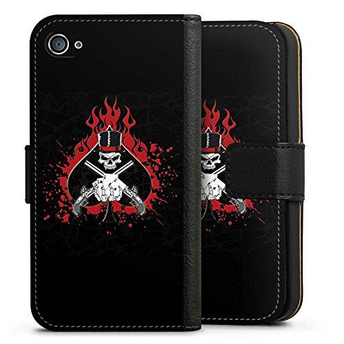 Apple iPhone X Silikon Hülle Case Schutzhülle Totenkopf Feuer Pik Sideflip Tasche schwarz