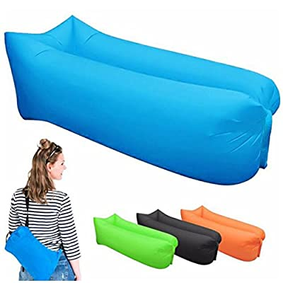 Portable Inflatable Lounger Couch with Storage Bag,Outdoor Indoor Air Sleep Sofa Laybag Couch Bed Pool Float for Hiking Camping,Beach,Park,Backyard Waterproof Durable - low-cost UK light store.