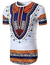 3d8956045e3f ALIKEEY Camicia A Maniche Corte con Scollo T-Shirt Manica Corta con Stampa  Africana Estiva O da Uomo T-Shirt con…