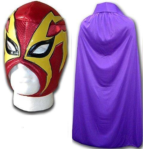 Shocker rot Fancy Kleid Mexikanischen Wrestlers Erwachsene Mexican Wrestling Maske W/Violett Kap