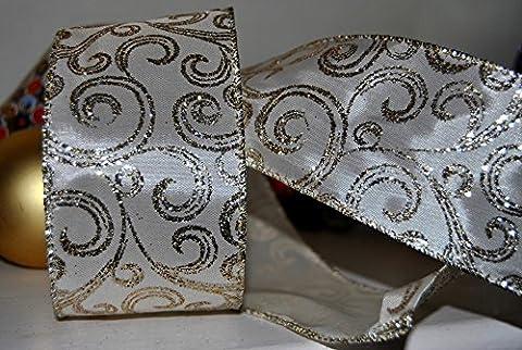 Ribbon Queen Premium Ivory Elfenbein Satin und Gold Glitzer Scroll
