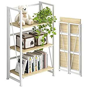 PRITI No-Assembly Folding-Bookshelf Storage Shelves 3 Tiers Vintage Bookcase Standing Racks Study Organizer Home Office - White