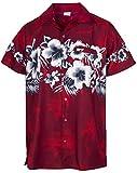 King Kameha Funky Hawaiihemd, Kurzarm, Blumen Brustdruck New, Rot, L