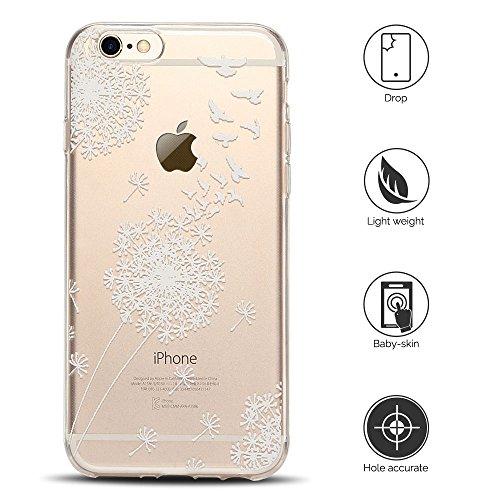 Cover iPhone 6s Custodia iPhone 6 Silicone Anfire Morbido Flessibile TPU Gel Case Cover per Apple iPhone 6/6s (4.7 Pollici) Ultra Sottile Clear Trasparente Copertura Antiurto Protettivo Bumper Skin Sh Dente di Leone Swallow