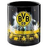Borussia Dortmund Tasse Metallic mit Stadionprint, Kaffeetasse, Kaffeebecher - Plus Lesezeichen I Love Dortmund