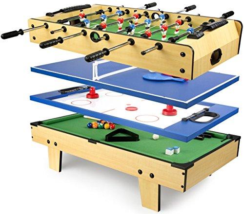 Leomark tavolo da gioco multifunzione 4 in 1 (calcio balilla, biliardo, tennis, hockey) biliardinoo calcetto tavolo in legno per bambini