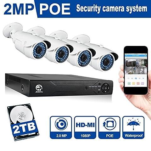 JOOAN 4CH NVR POE Überwachungssystem Mit 2TB HDD, 2.0MP 1080P POE HD Netzwerk Kamera Sicherheit System CCTV Monitor System Home Video Überwachungssystem, Klare Nachtsicht, (Erweiterte Sicherheitssystem)