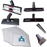 4diversi ugelli per aspirapolvere (tappeto–Aspirapolvere, pavimento duro per; Ugello per fessure & ventosa pennello) inclusi 10sacchetti per Bosch BSG 72223Formula Hygienixx PRO Parquet 3