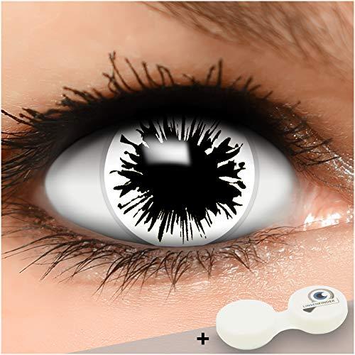 Farbige weiße Kontaktlinsen Shot MIT STÄRKE + Behälter von Linsenfinder, weich, als 2er Pack - angenehm zu tragen und perfekt zu Halloween, Karneval, Fasching oder Fasnacht
