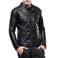 TIMEMEAN Winter clearance Men Autumn Casual Daily tops Men Autumn Winter Leather Jacket Biker Motorcycle Zipper Outwear Coat Top Blouse