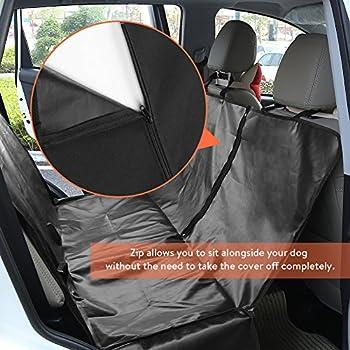 GHB Housse pour Chien Voiture Housse de Protection Voiture Chien Couverture Double Zips Imperméable et Anti-Rayures Universelle pour Voiture Camion SUV-Noir