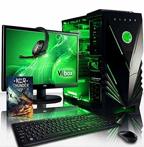 VIBOX Crusher Komplett-PC Paket 13 Gaming PC - 4,2GHz Intel i7 Quad Core CPU, GT 710 GPU, preiswerte, Desktop Gamer Computer mit Spielgutschein, 22