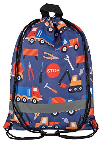 Aminata Kids - Kinder-Turnbeutel für Junge-n mit BAU-Fahrzeuge Betonmischer Bagger Auto-s Sport-Tasche-n Gym-Bag Sport-Beutel-Tasche grau...