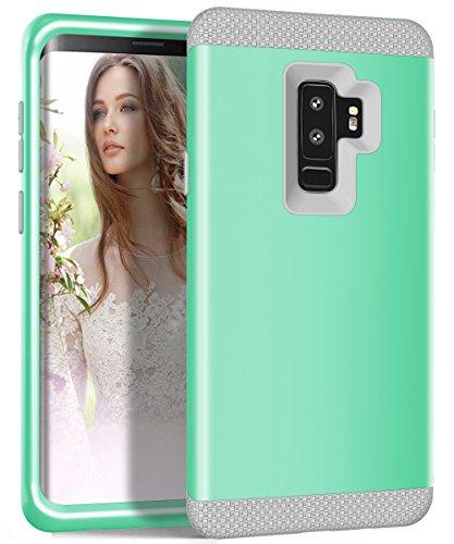 Galaxy S9Plus Case, zaox Drei Schichten Heavy Duty stoßfest Soft Silikon Kratzfest Anti-Fingerprint PC Harte Hybride Schutzhülle für Samsung Galaxy S9Plus, Mint Green+Gray (Mädchen Diamond Supply Co)