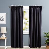 AmazonBasics - Cortinas opacas con aislamiento térmico y alzapaños (1 unidad, 134,5 x 244 cm), color negro