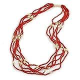 Avalaya, collana lunga multifilo con perline di vetro rosso e perle finte color panna, lunghezza 70 cm