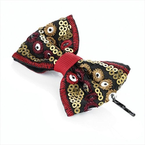 Rouge et or Tribal à paillettes Bow cheveux Grip aj24903