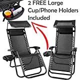 Nella Milan 2x Zero Gravity Folding Lounge Garden Chairs Garden Outdoor Sunvisor