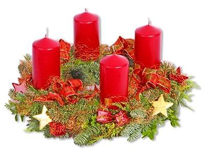 Adventskranz Weihnachtskranz bordeaux frisch