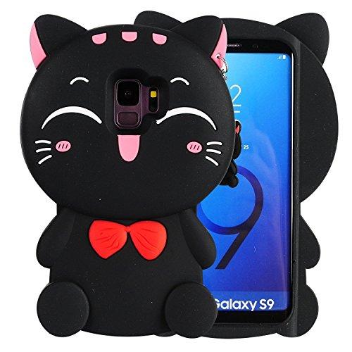 Liangxuer Pink Lucky Einhorn Schutzhülle für Samsung Galaxy Serie, Silikon, Schwarze Katze, Samsung Galaxy S9