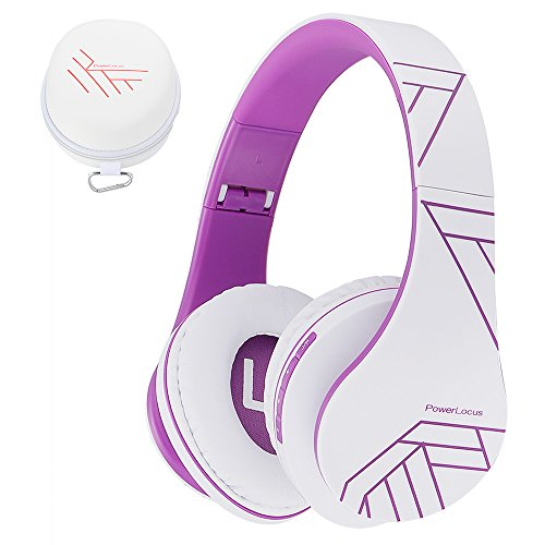PowerLocus Bluetooth Over-Ear Kopfhörer, Kabellos Stereo Faltbare Kopfhörer Kabellose und Kabel-Kopfhörer mit Integriertem Mikrofon, Micro SD/TF, FM für Handys/iPad/Laptops & PC (Weiß/Violett) -