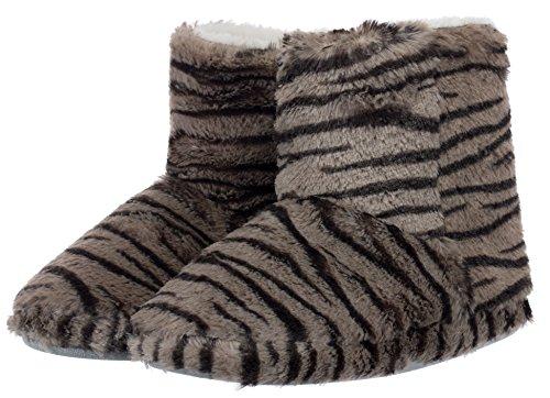 Damen Hausschuh Pantoffeln Flausch - weich und kuschelig mit rutschfester Sohle Tier-Design zwei Tiermotive Tiger