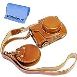 First2savvv marrón Calidad premium Funda Cámara cuero de la PU cámara digital bolsa caso cubierta con correa para Olympus PEN E-PL8 EPL8 con lente 14-42mm + paño de limpieza XJD-EPL8-HH09G11