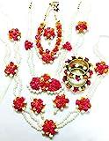 #3: Floret Jewellery Mogra Pearl Pink Orange Complete Flower Jewellery Set With 10 Items For Women & Girls (Mehandi/Haldi/Wedding/Bridal)