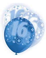 Blue Glitz 16th Birthday Latex Balloons