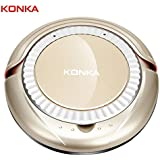 KONKA KC-D1 Automatic Robotic Vacuum Cleaner Sweeper, 220V 25W Intelligent Sweeping Robot With Drop-Sensing Technology And Powerful Suction For Hard Floor And Ultra-Thin Carpet (Gold)
