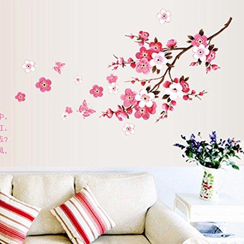 Dragon868 adesivi murali fiori di pesco fai da te adesivi murali cameretta cucina salotto home decor (rosa)