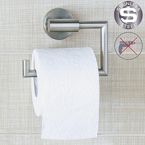 Wonder Worker - Toilettenpapierhalter zur Wandmontage ohne Bohren aus Edelstahl 15,5x 13,5x 5,4cm