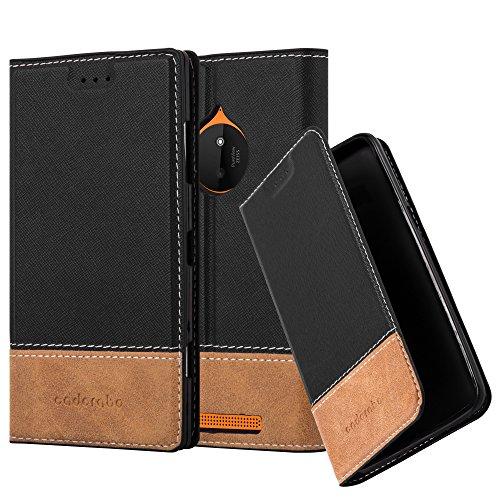 Cadorabo Hülle für Nokia Lumia 830 - Hülle in SCHWARZ BRAUN – Handyhülle mit Standfunktion und Kartenfach aus Einer Kunstlederkombi - Case Cover Schutzhülle Etui Tasche Book