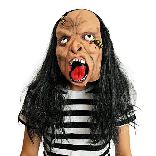 Sclmj dark eyed, white eyed zombie mask halloween party costume strana maschera in lattice