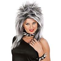 NET TOYS Accessori abbigliamento di Carnevale Parrucca femminile da Rockstar  grigia e bianca modello Tina Turner 62e347adf1de