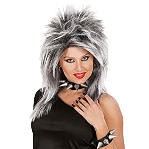 Perruque femme stylisée rock star Tina en gris perruque de rock star perruque de carnaval perruque de femme carnaval