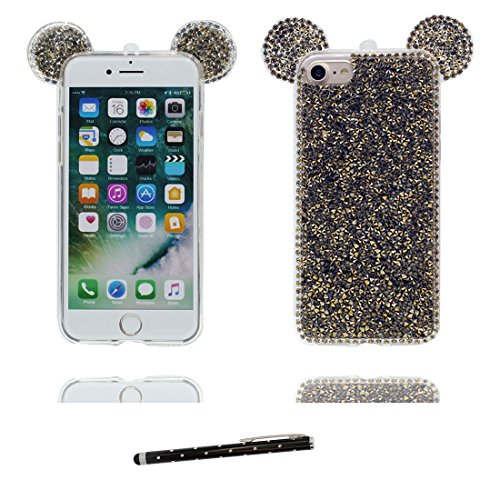 """Hülle iPhone 6 6s Cover 3D Cartoon Maus Ohr, Durable Light Slim Diamonds Bling Bead Transparent iPhone 6 Handyhülle 4.7"""", iPhone 6S case 4.7"""" Kratzer beständig & Touchstift # 2"""