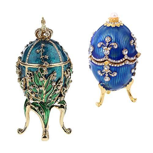 B baosity 2 pcs scatola porta gioielli accessorio decorativo stilo uovo di pasqua regalo per donne bambine famiglia - blu + verde