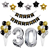 Toupons Birthday Party Decorations 30th, 30th Party Decorations Happy Birthday Banner 39pcs Party Balloons Set Black Gold Sliver Latex Balloons Foil Balloons Party Decorations Supplies for men