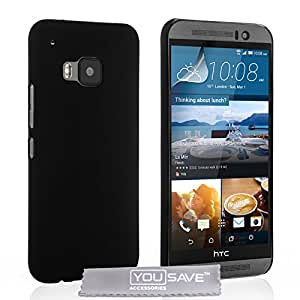 Yousave Accessories Custodia per HTC One M9, Duro Ibrido, Nero