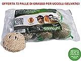 72 PALLE DI GRASSO MANGIME 90GR NO OLIO DI PALMA Cibo per Uccelli Selvatici