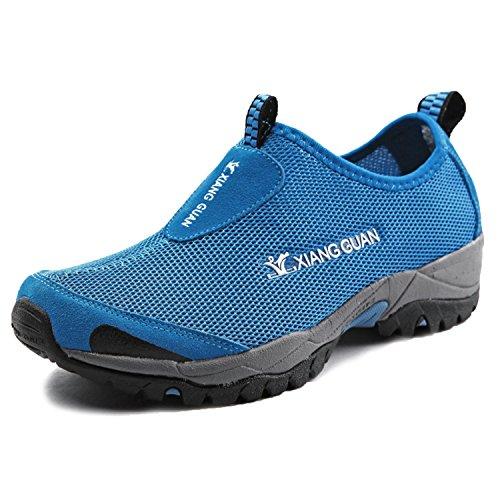 XIANG GUAN Outdoor Chaussures Slip-On Course Sports Empeigne en Mesh Respirante et Légère Mixte Adulte Bleu