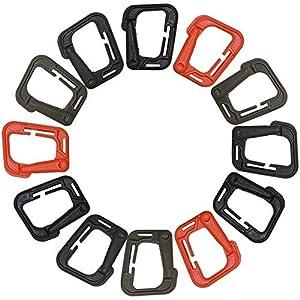 FineGood 12pcs Mosquetón Hebilla Táctico Bloqueo D-Ring para Escalada Senderismo – Marrón, Negro, Naranja, Caqui