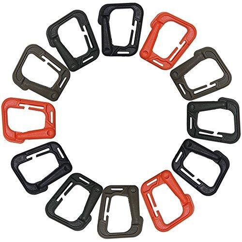 12pcs Mosquetón Hebilla Táctico Bloqueo D-ring para Escalada Senderismo – Marrón, Negro, Naranja, Caqui