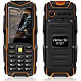 VKworld Piedra V3 IP67 a prueba de choques a prueba de polvo del teléfono móvil del banco de la energía espera largo del ejército al aire libre 5200mAh + 64 MB de RAM 64 MB de red GSM ROM (Naranja)